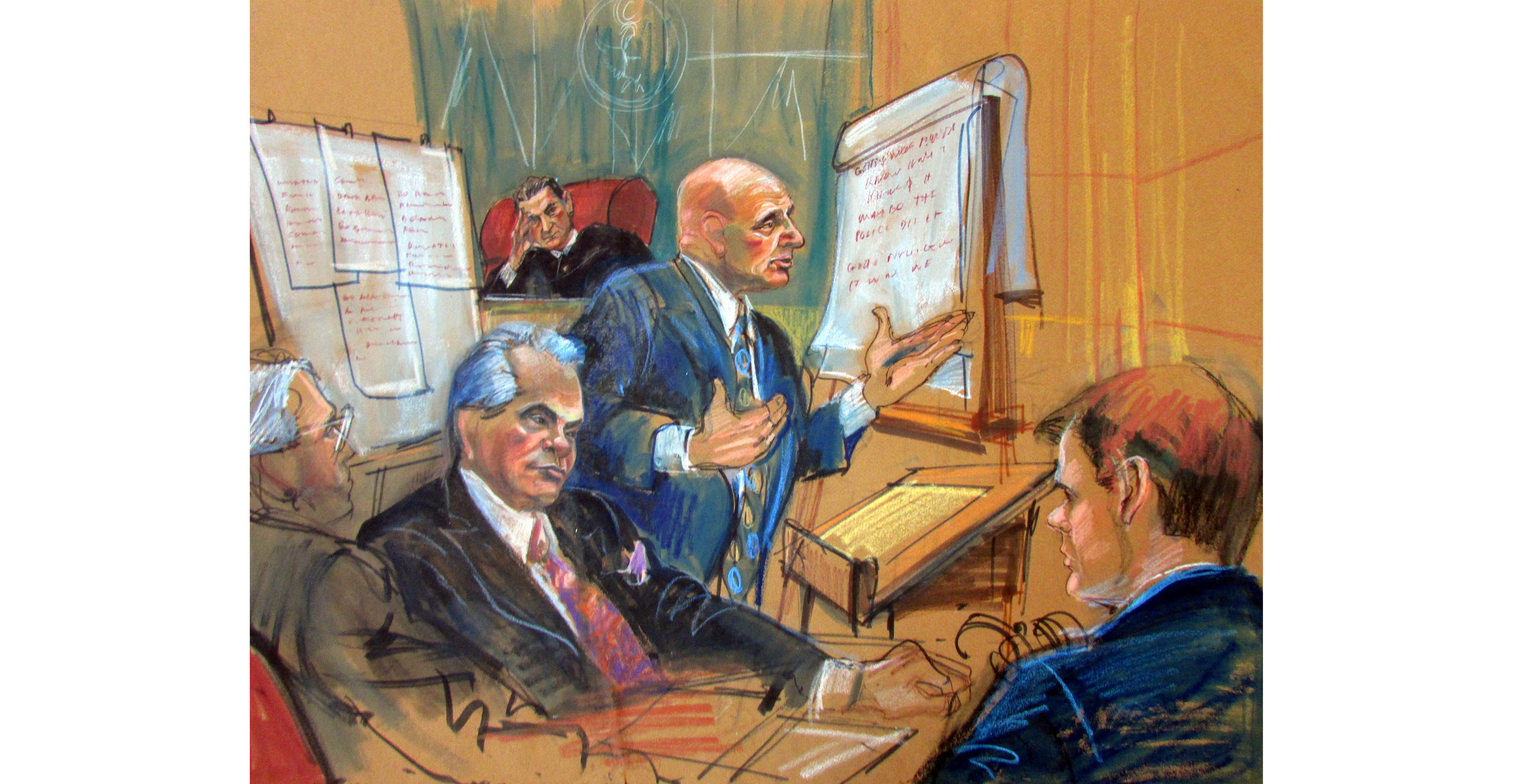 "John Gotti, Pencil, crayons, markers  26.5"" x 32.25"", 1992"