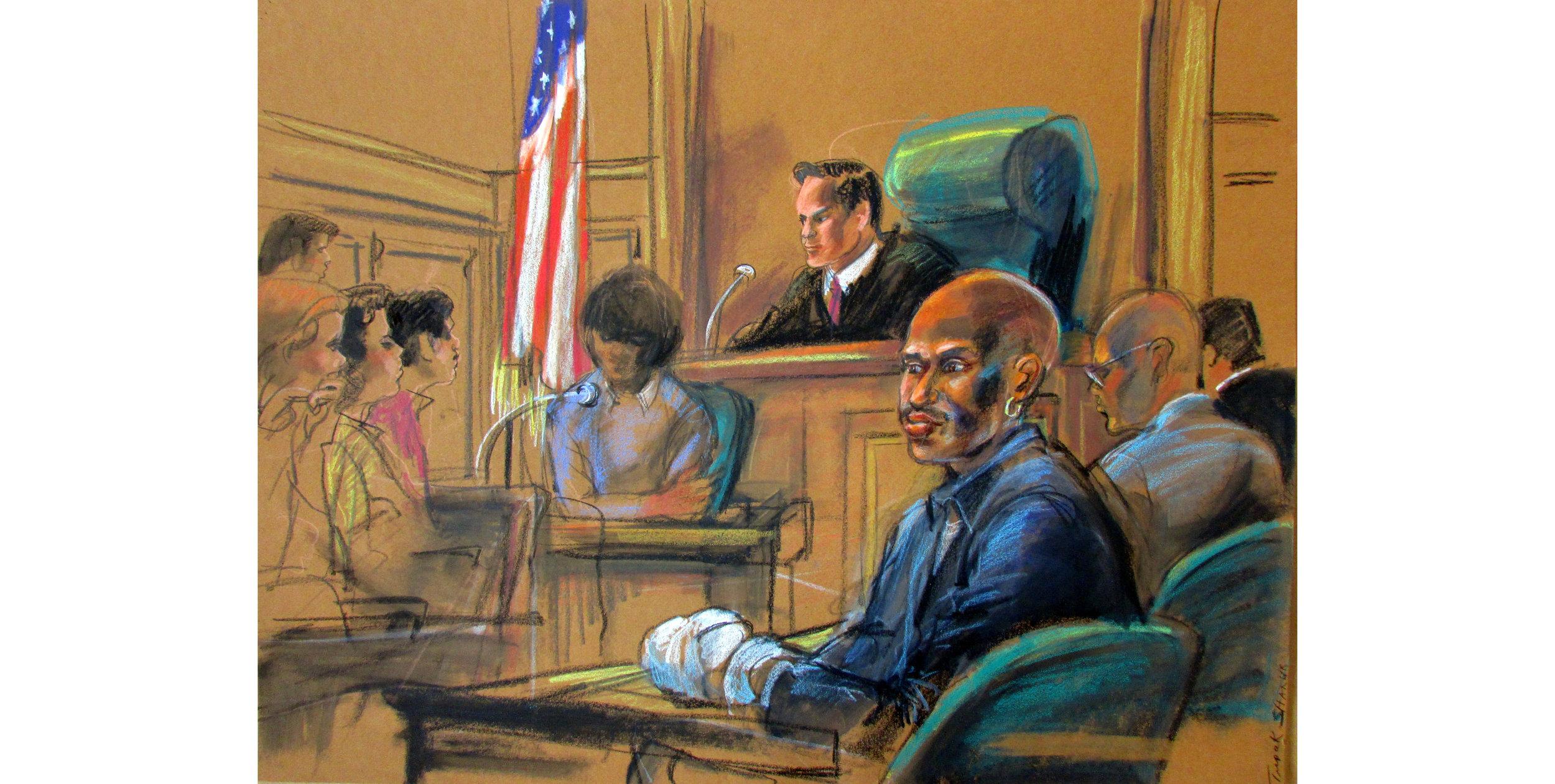 """Tupac Shakur, Pencil, crayons, markers  24.5"""" x 30"""", 1995"""