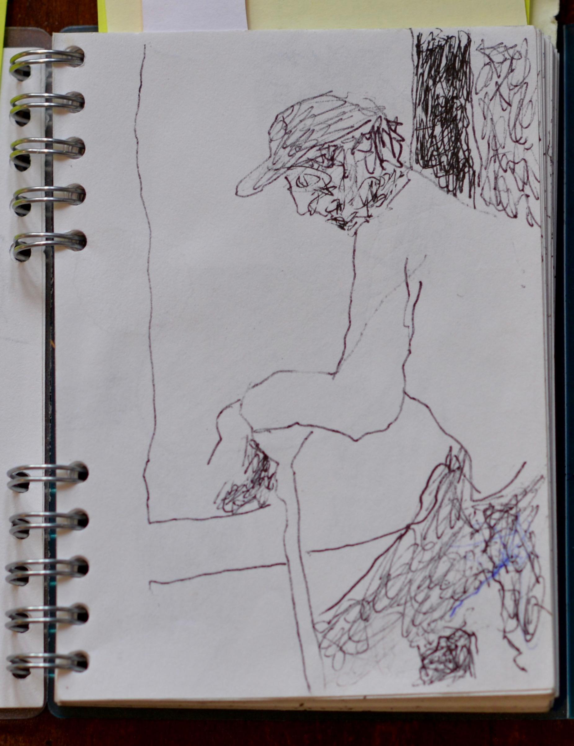 """Doorman, ink on paper, 5"""" x 3"""""""