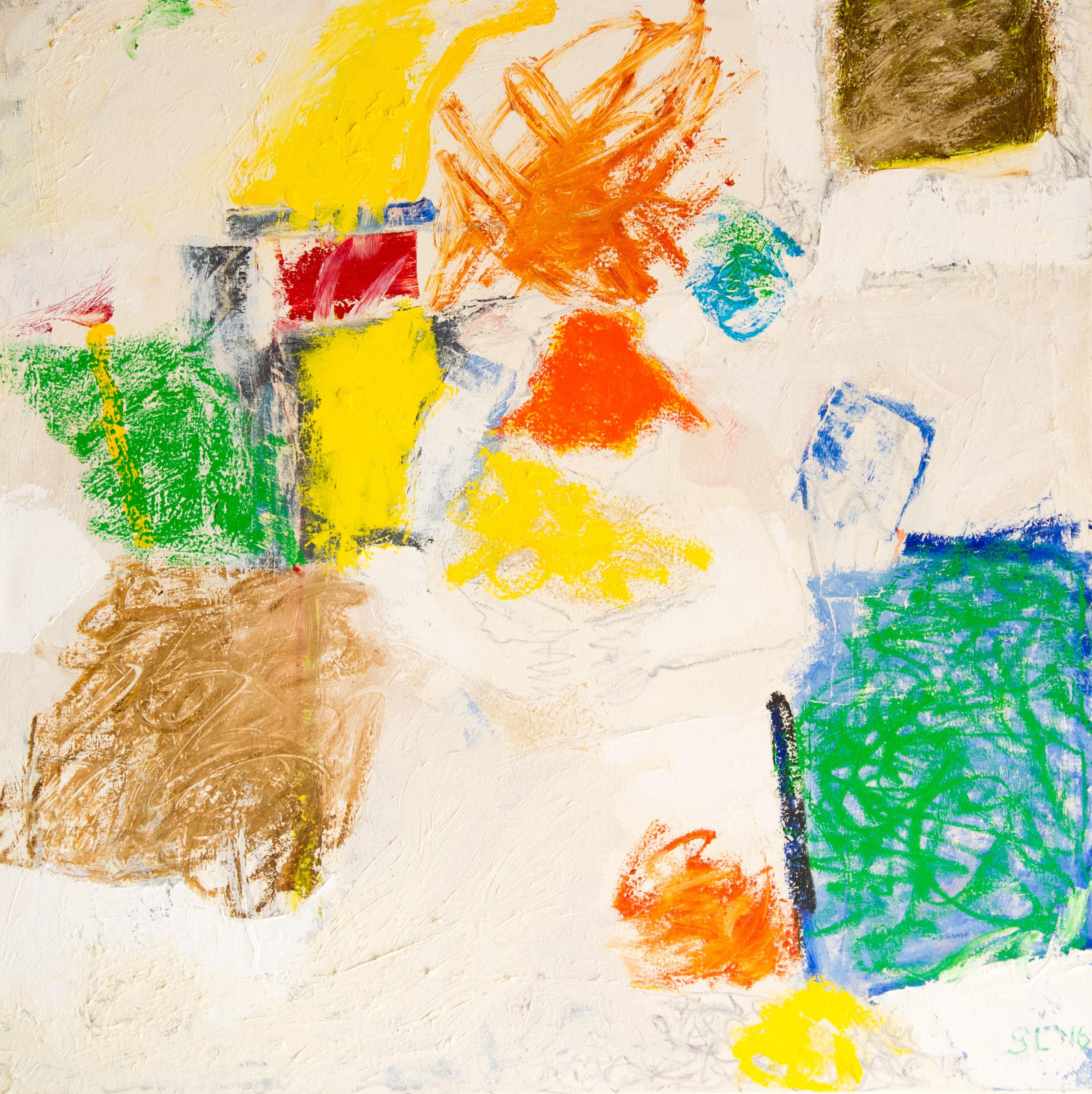 """Streetscene, oil on canvas, 36"""" x 36"""""""