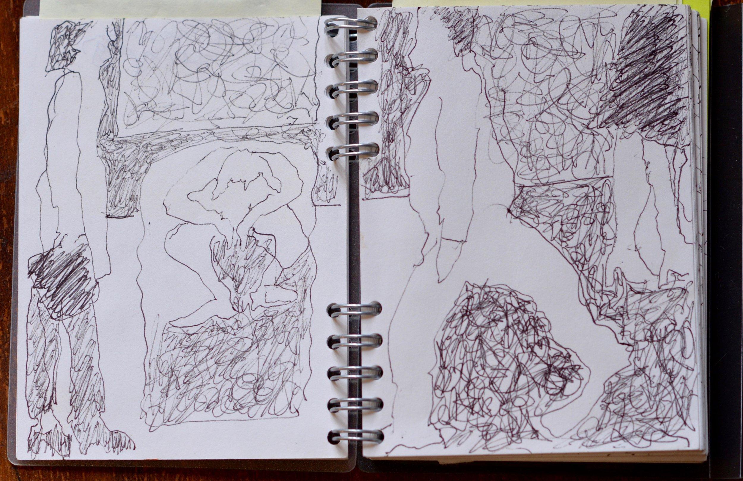 "Streetscene, ink on paper, 5"" x 6"""