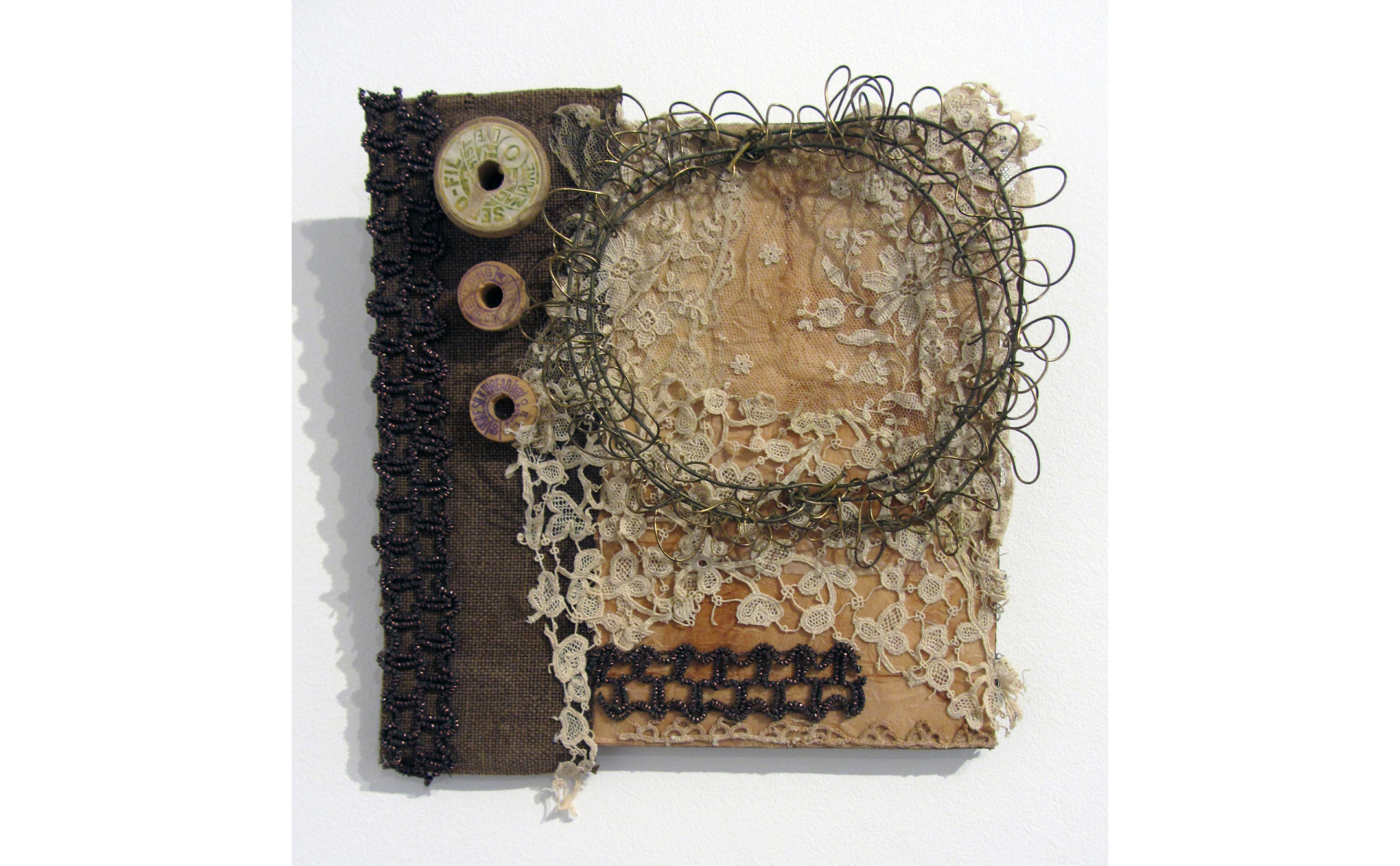 Liz Curtin, A Few Small Repairs III Tattered and Torn, 2017, Mixed Media, 10 x 10 inches, $475.JPG
