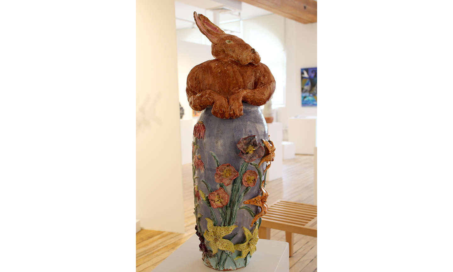 Missett, Rabbit in Flower Garden, 2010, Glazed Ceramic, 36 x 12 x 12 inches, $1800 .jpg