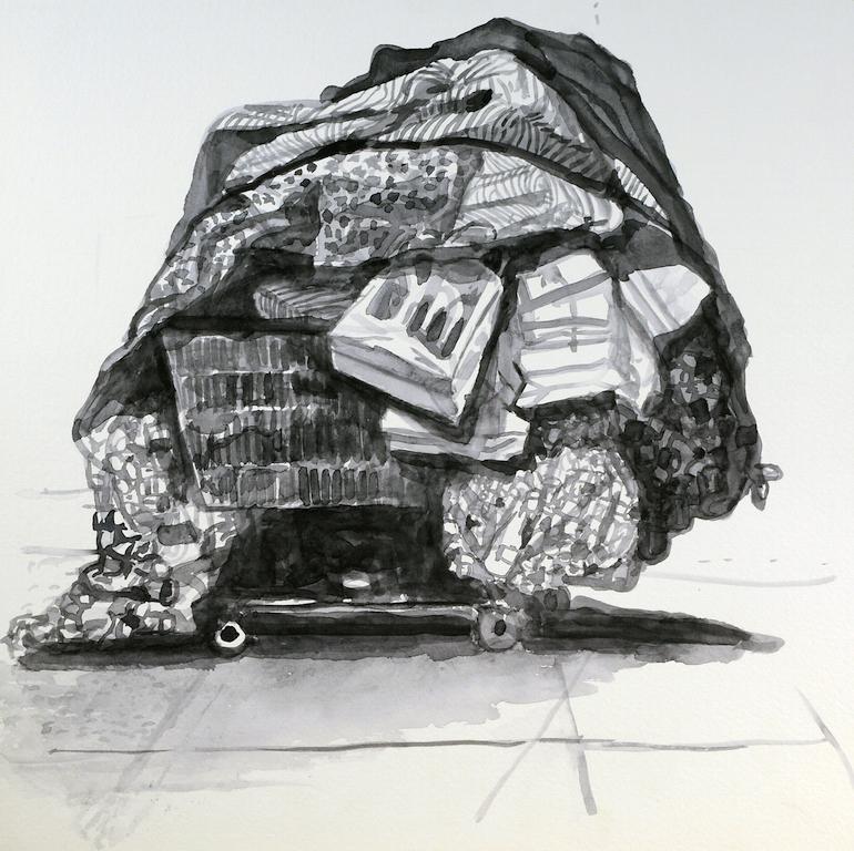 Danny Turitz, Watercolor Cart #17, 2017, Watercolor, 12 x 12 inches,$1,800.jpg