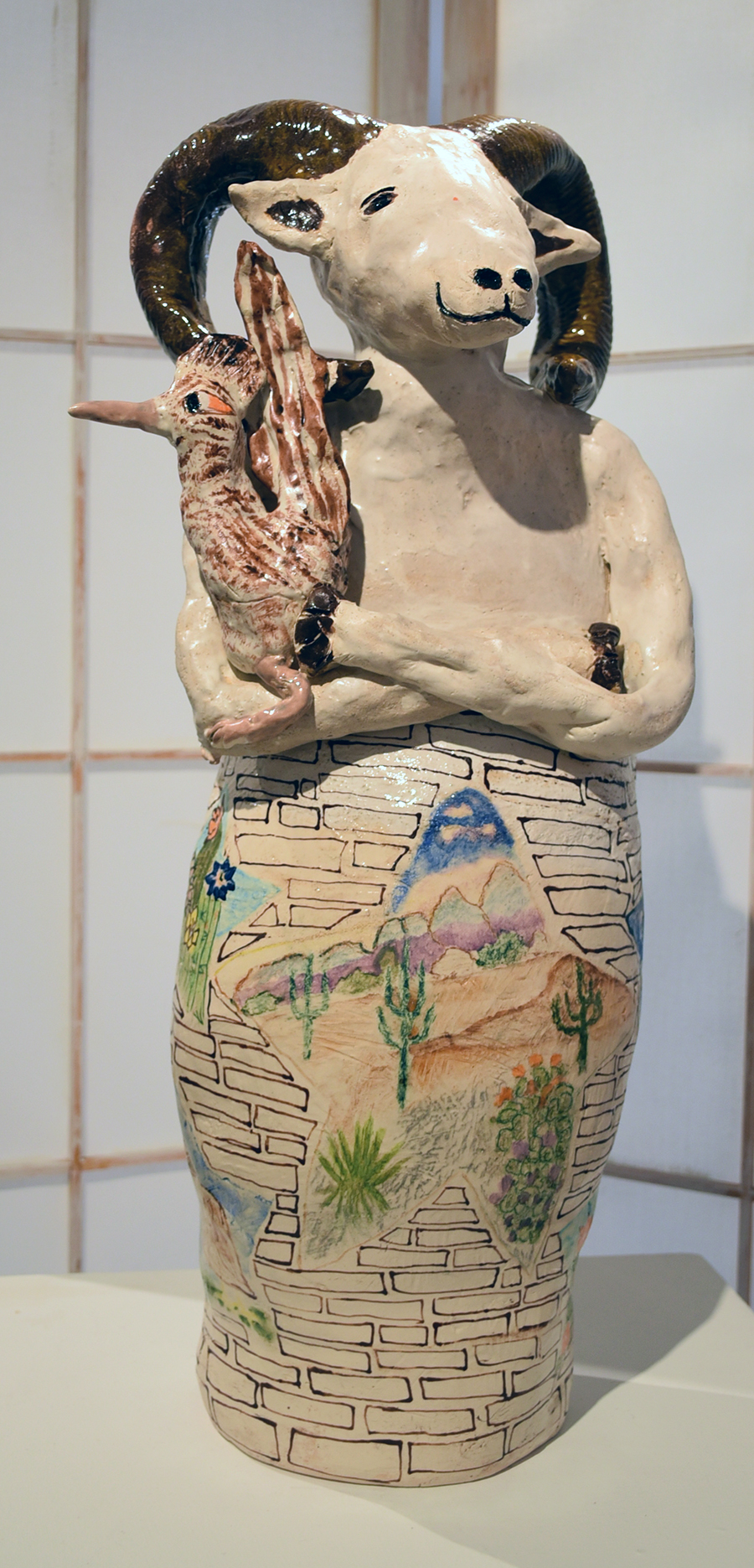 Kate Missett Big Horned Sheep and Road Runner Versus the Wall 2017-18 White Stoneware 24 x 8 x 6 inches $850, low res.jpg