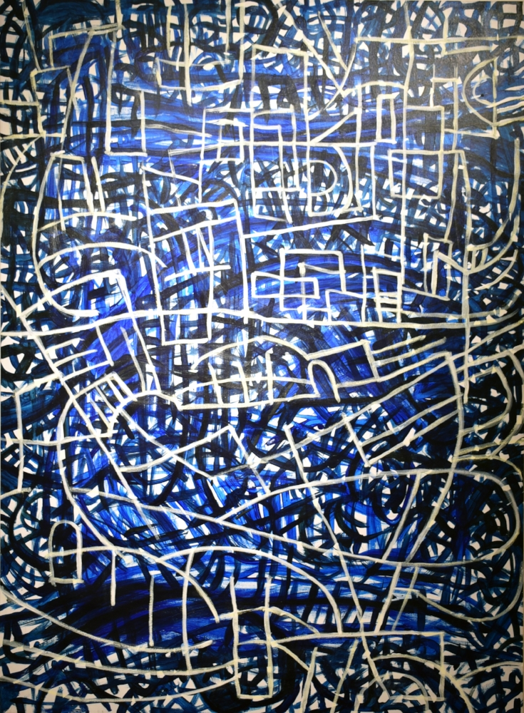 Robert Petrick, Sound in Blue 2, 2018, Acrylis on Canvas, 44 x 60 inches $2,500 .jpg