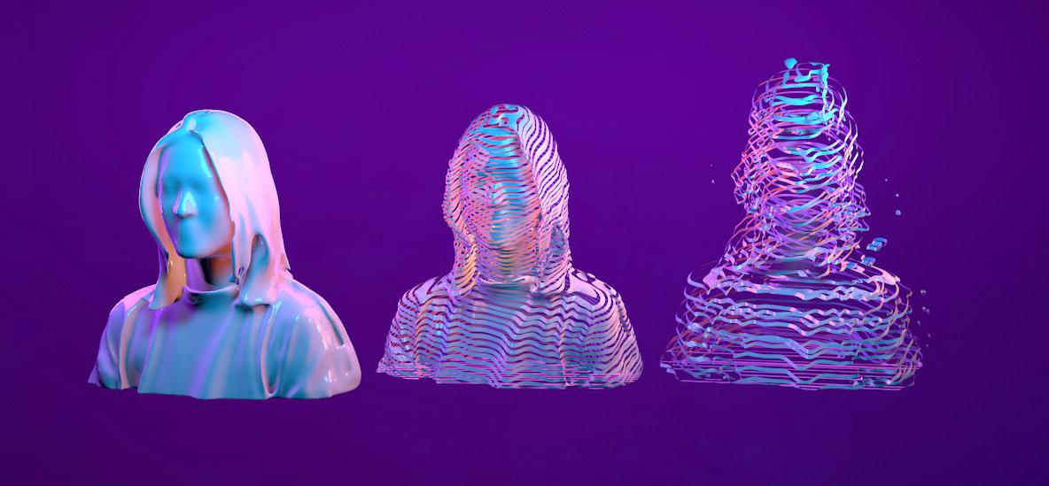 Cinema 4D, C4D Voranoi Fracture, Portrait, 3D Scan, Structure Sensor