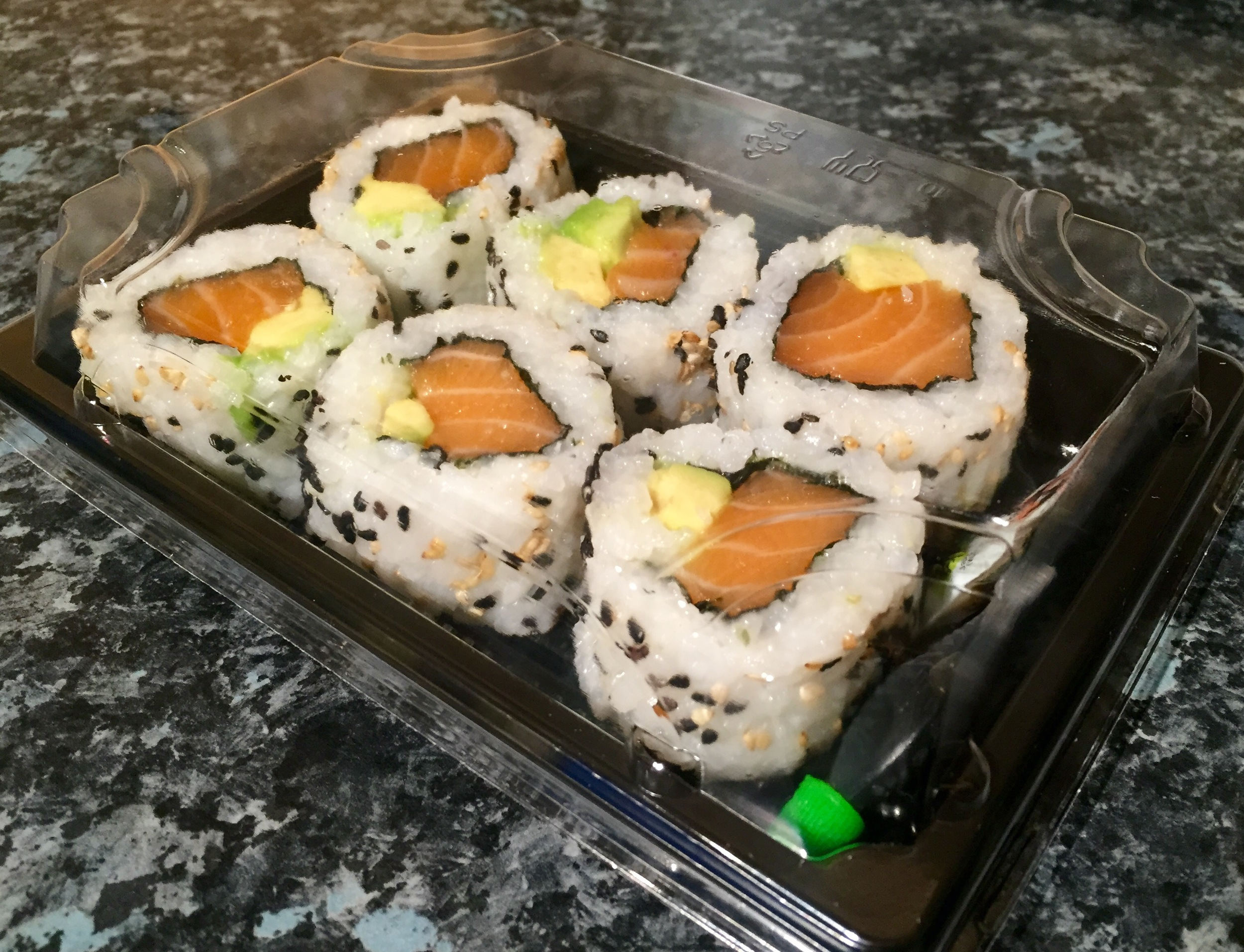 SALMON AND AVOCADO INSIDE OUT ROLLS - £6