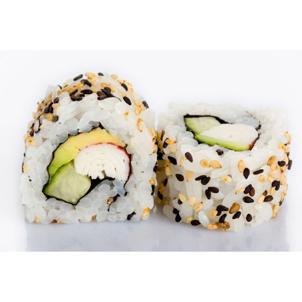 CALIFORNIA ROLL X 6 - £5.50   An inside out roll filled with sea food sticks, avocado and cucumber, sprinkled with sesame seeds.  *contains gluten