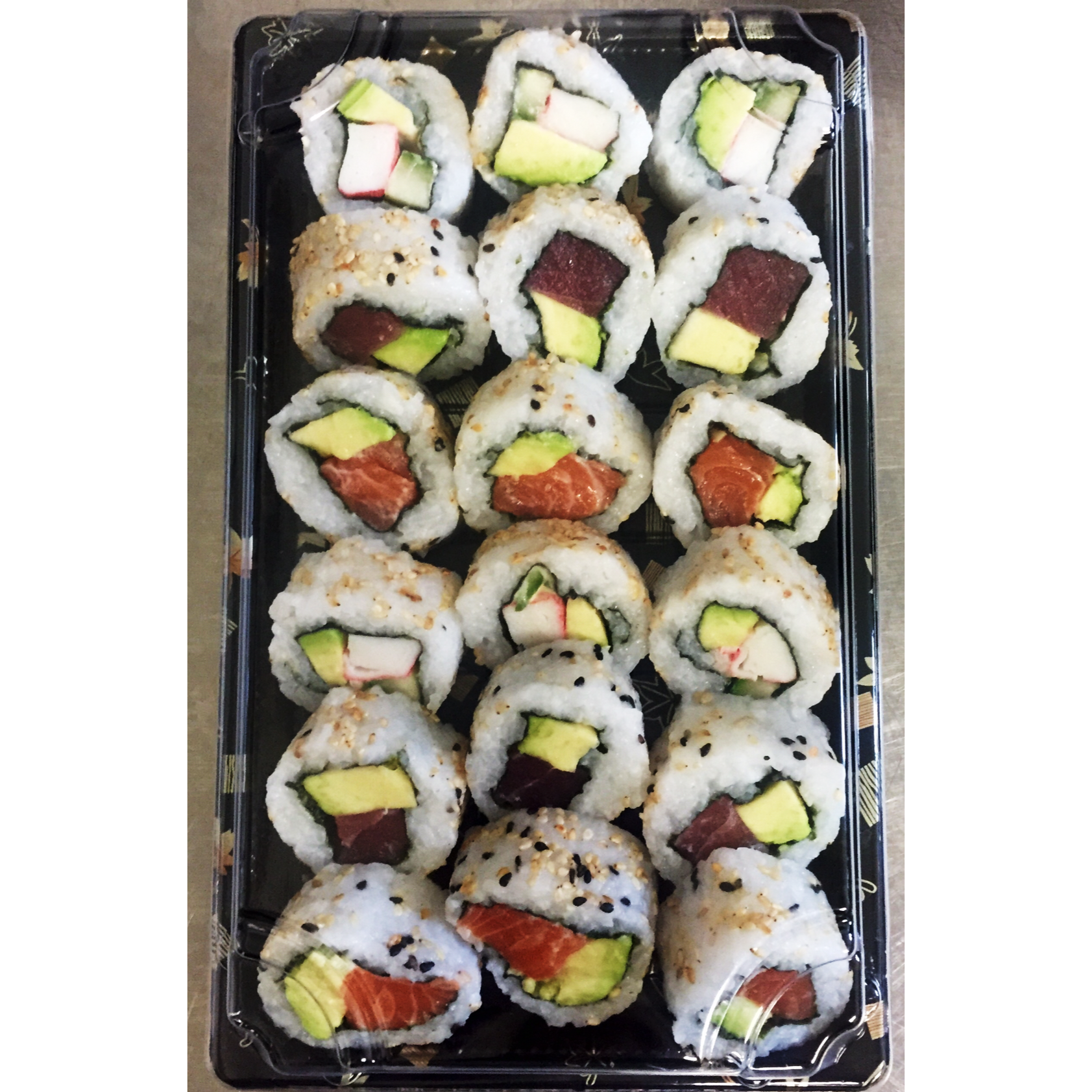 The Uramaki Box - £14   Incudes 18 Inside out rolls including salmon & avocado, california rolls and tuna & avocado.  *contains gluten