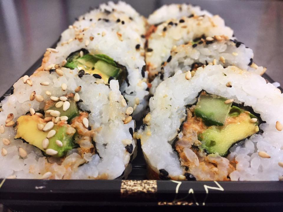 Crab & avocado rolls - £6.50   Real crab meat, avocado and cucumber lined with spicy mayo.