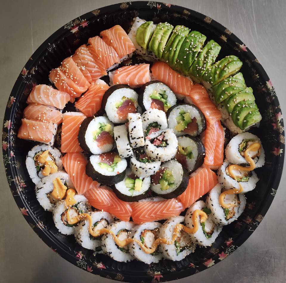 The Fish & Meat Feast Platter - £42   A mix of salmon, tuna, caterpillar roll, katsu, steak, salmon nigiri and futomaki.