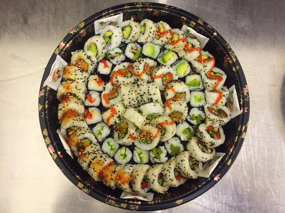 The Jumbo Vegan Platter - £32   a mix of five veg rolls plus veg maki.
