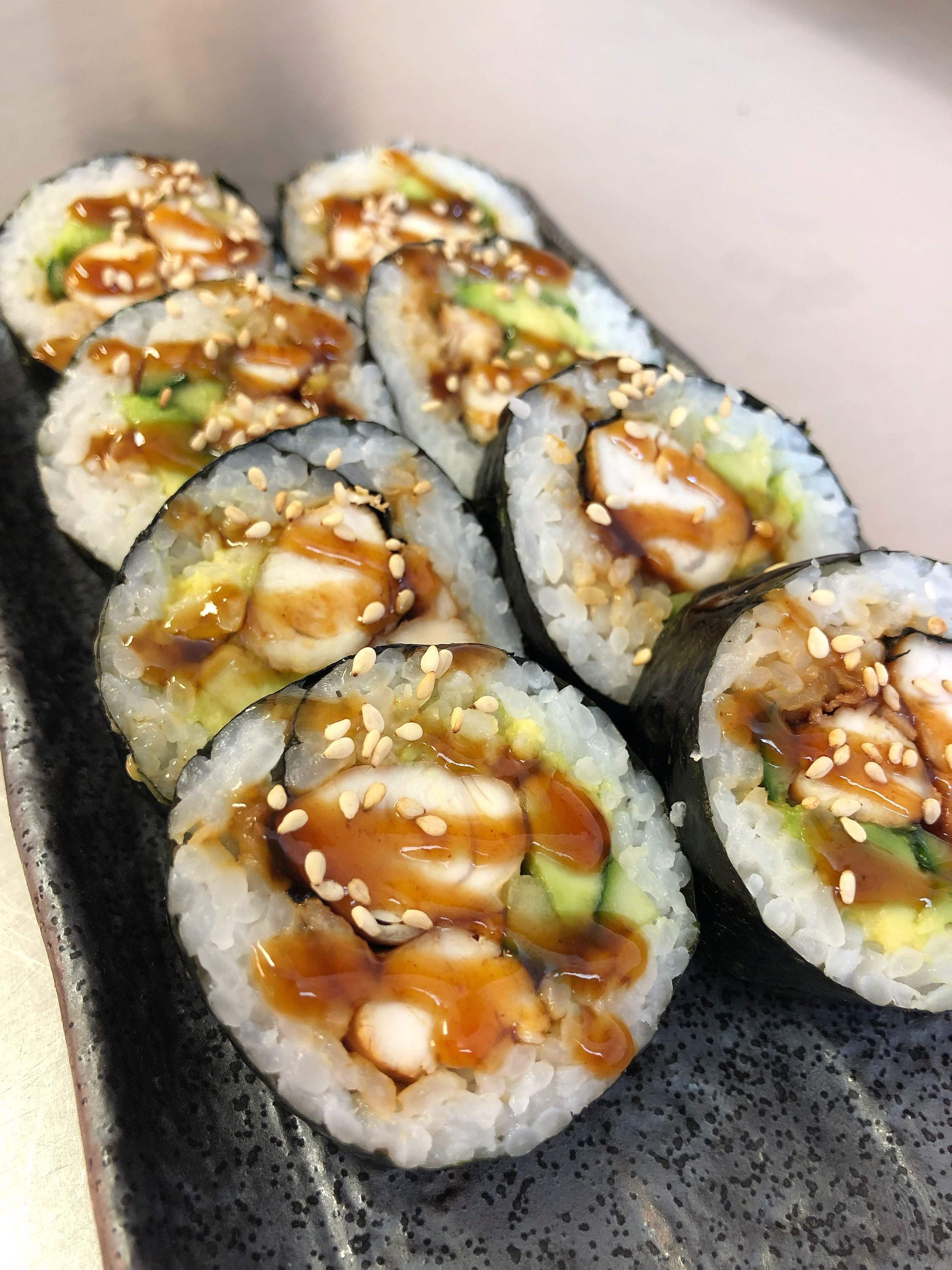 Teriyaki Chicken Futomaki - £6.50    contains gluten