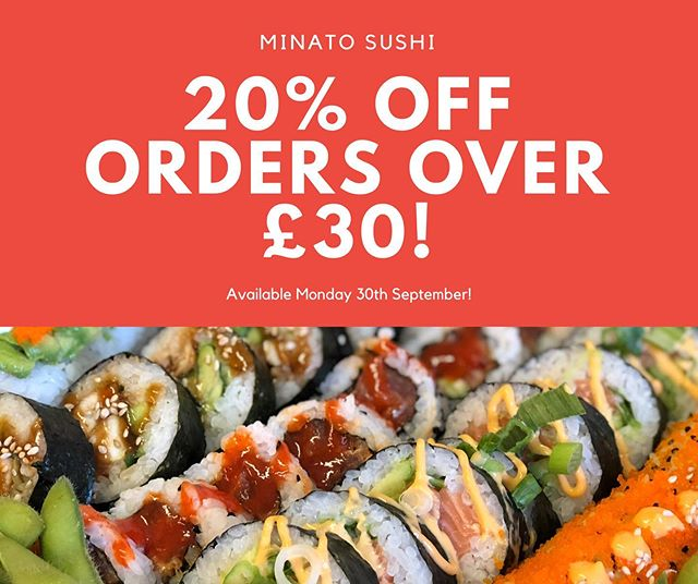Thank you all for a busy weekend 💫  As a thank you, enjoy 20% off all orders over £30 this Monday! 🍣  Order on www.minato-sushi.co.uk and we will apply your discount!  Thanks everyone, and enjoy your weekend! #sushi #sushilover #sushiporn #futomaki #maki #weekendvibes #supportsmallbusiness #instaedinburgh #instafood #food #foodie #foodlover #foodporn #eastlothian #edinburgh #edinburghbloggers #healthy #takeaway #love #friends #nomnom #cleaneating #blogger #instablogger #avocado #vegan
