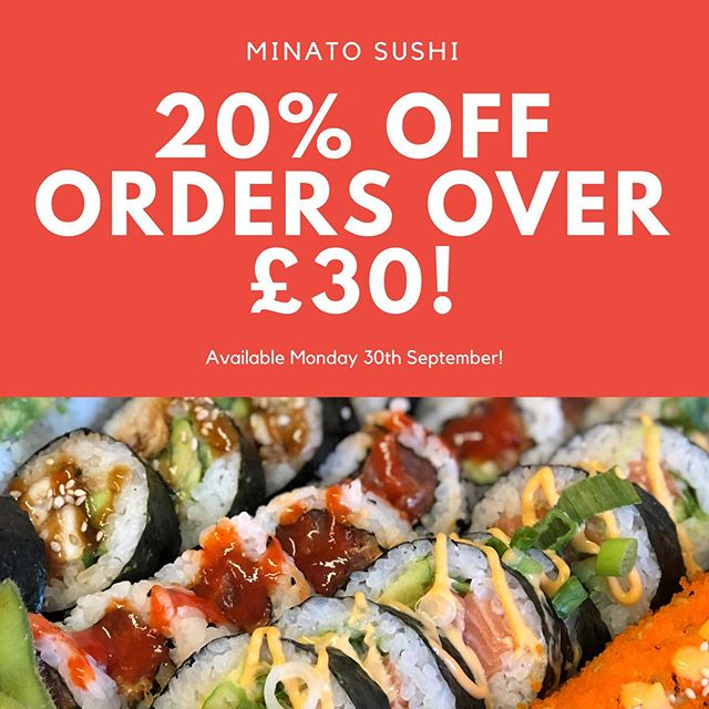 Remember and take advantage of our Monday offer! 🌟 20% OFF ORDERS OVER £30! 🌟  Order from www.minato-sushi.co.uk 🍣  We will apply your discount when ordered! #sushi #sushilover #sushiporn #futomaki #maki #weekendvibes #supportsmallbusiness #instaedinburgh #instafood #food #foodie #foodlover #foodporn #eastlothian #edinburgh #edinburghbloggers #healthy #takeaway #love #friends #nomnom #cleaneating #blogger #instablogger #avocado #vegan