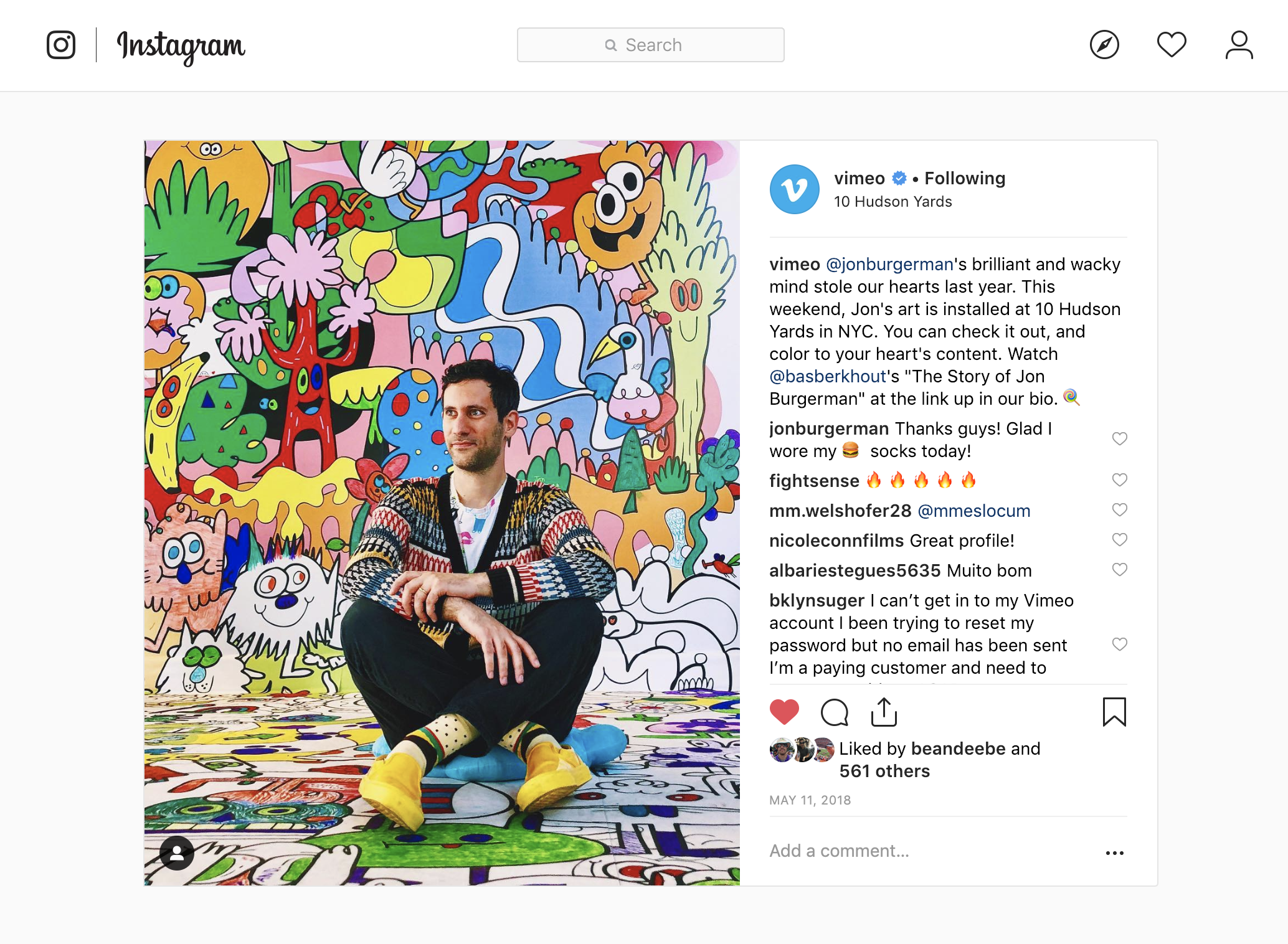 Photographing creators for social media promotion (Illustrator  Jon Burgerman  photographed by me)