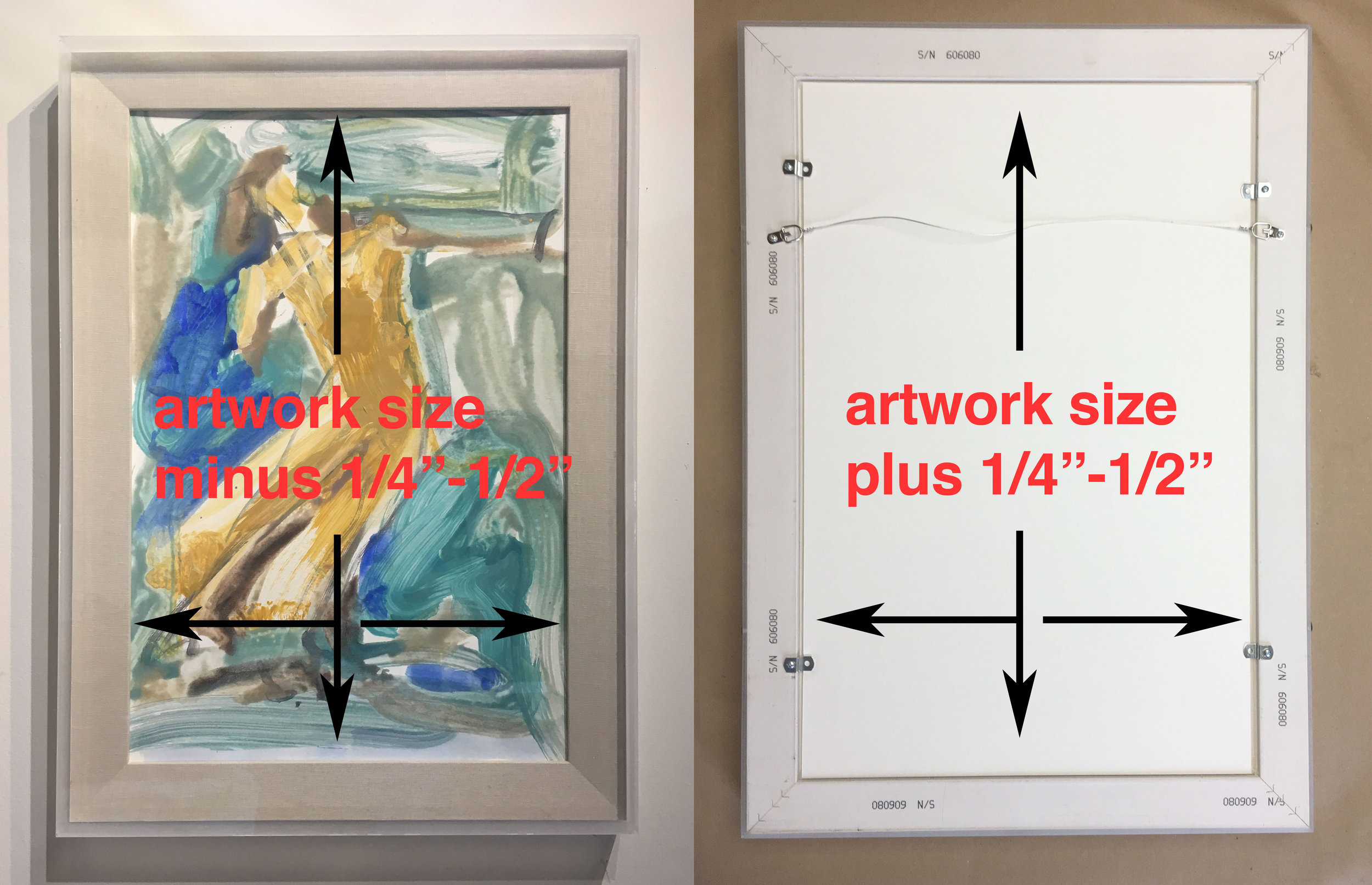 - The space for the artwork is 1/8