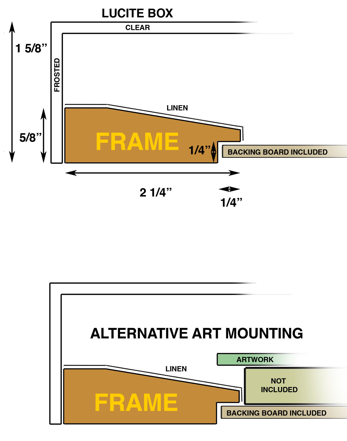 - Art can also be presented floated on a board (not included) glued to the backing board.