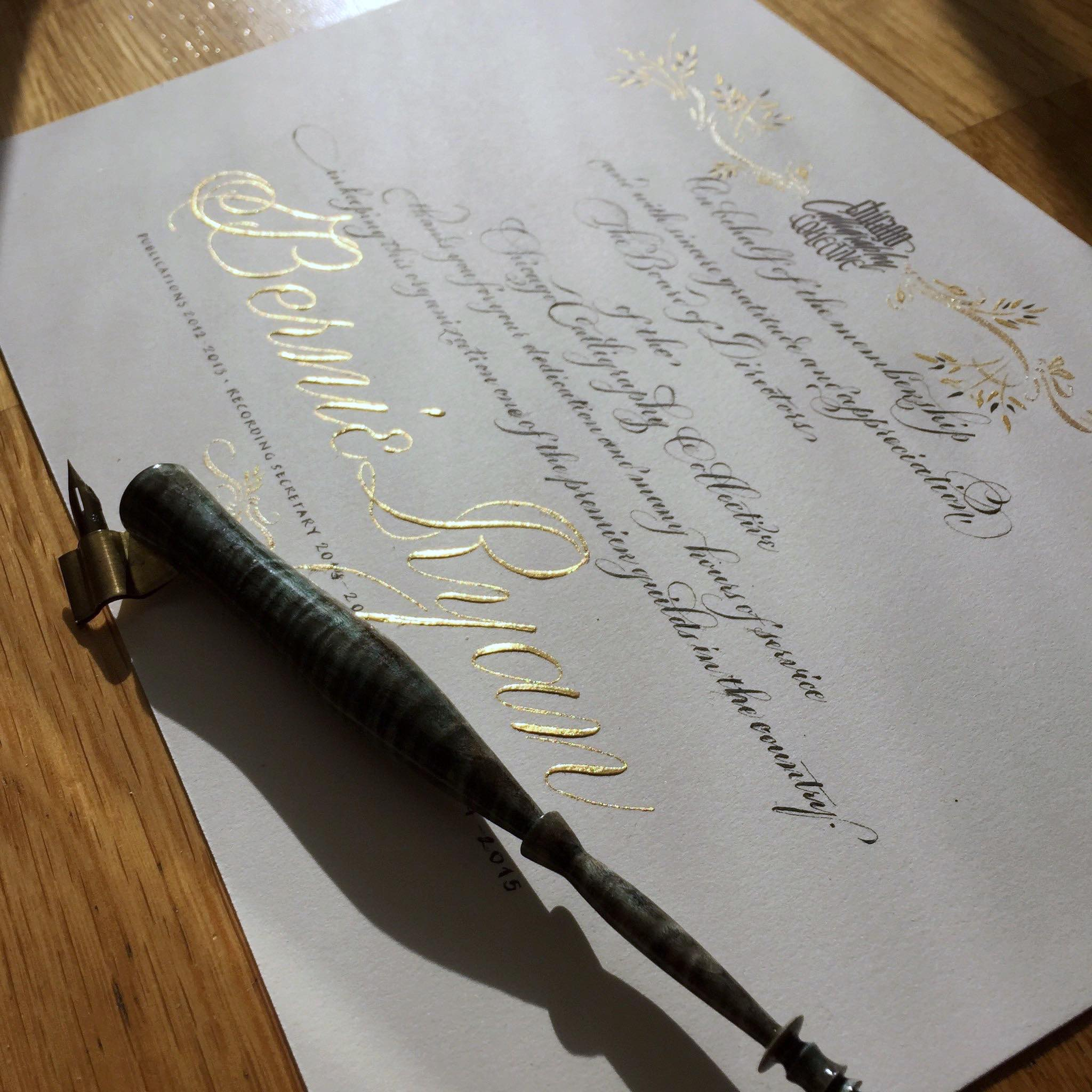 Certificate gilded in 23k gold leaf, commissioned by the Chicago Calligraphy Collective