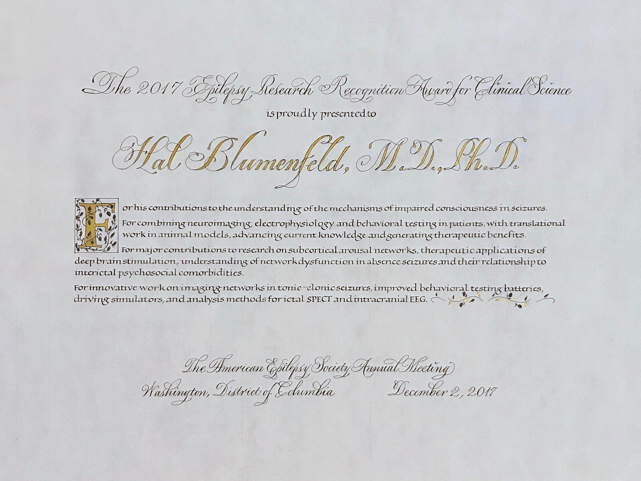 Certificates created and designed annually for the American Epilepsy Society