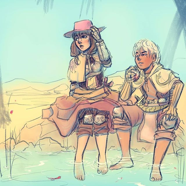 Quick sketch I did of my first online friend's character Ookami and my Majik in Ragnarok Online . . . . . #desert #sketchcollector #art #speedpaint #oasis #ragnarokonlinemobile #knights #digitalsketches #sketchdrawing #digitaldrawingoftheday #arty #ragnarokonline2 #digitaldrawing #sketch_dailies #artvideos #speedpaints #sketch #artgallery #swordsman #ragnarokindonesia #ragnarokonline #knight #ragnarok #ragnarokserver #digitalsketch #sketchbook  #illustrationsketch #artvideophoto #artprocessvideo #artwork