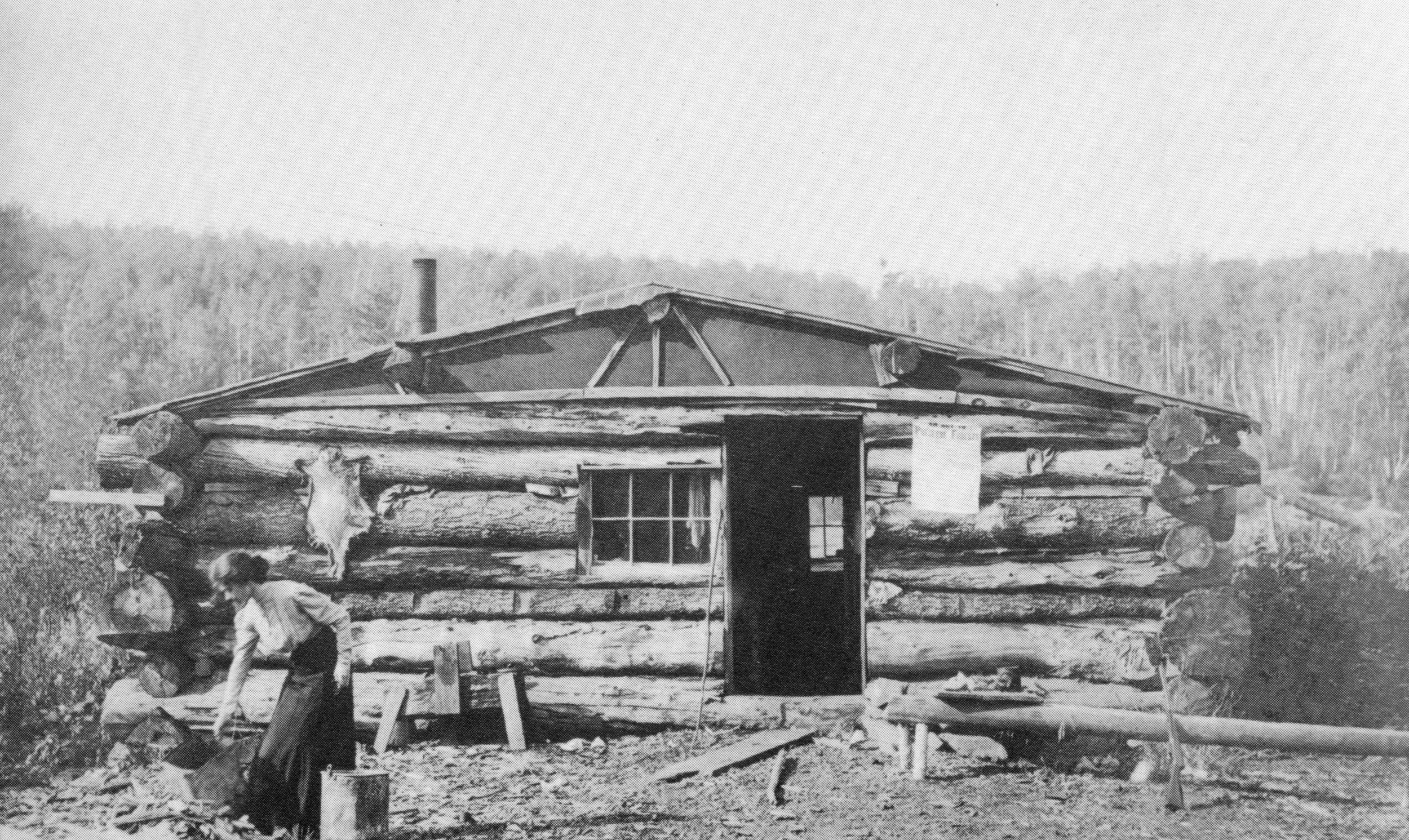 Ethel Curwood at their honeymoon cabin which they built and lived in for a year.