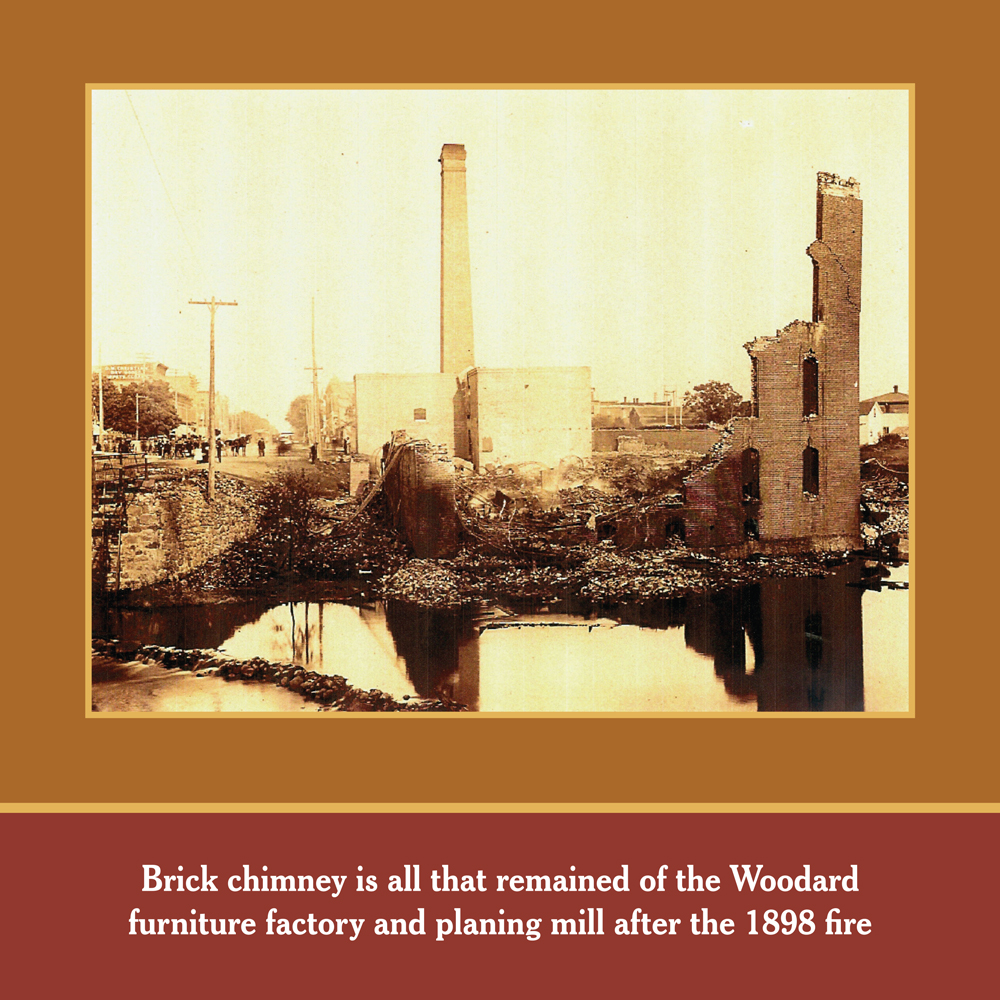 FIRE OF 1898: The Woodard brick chimney still stands after the devastating fire of 1898 that ravage the mill and other surrounding buildings.