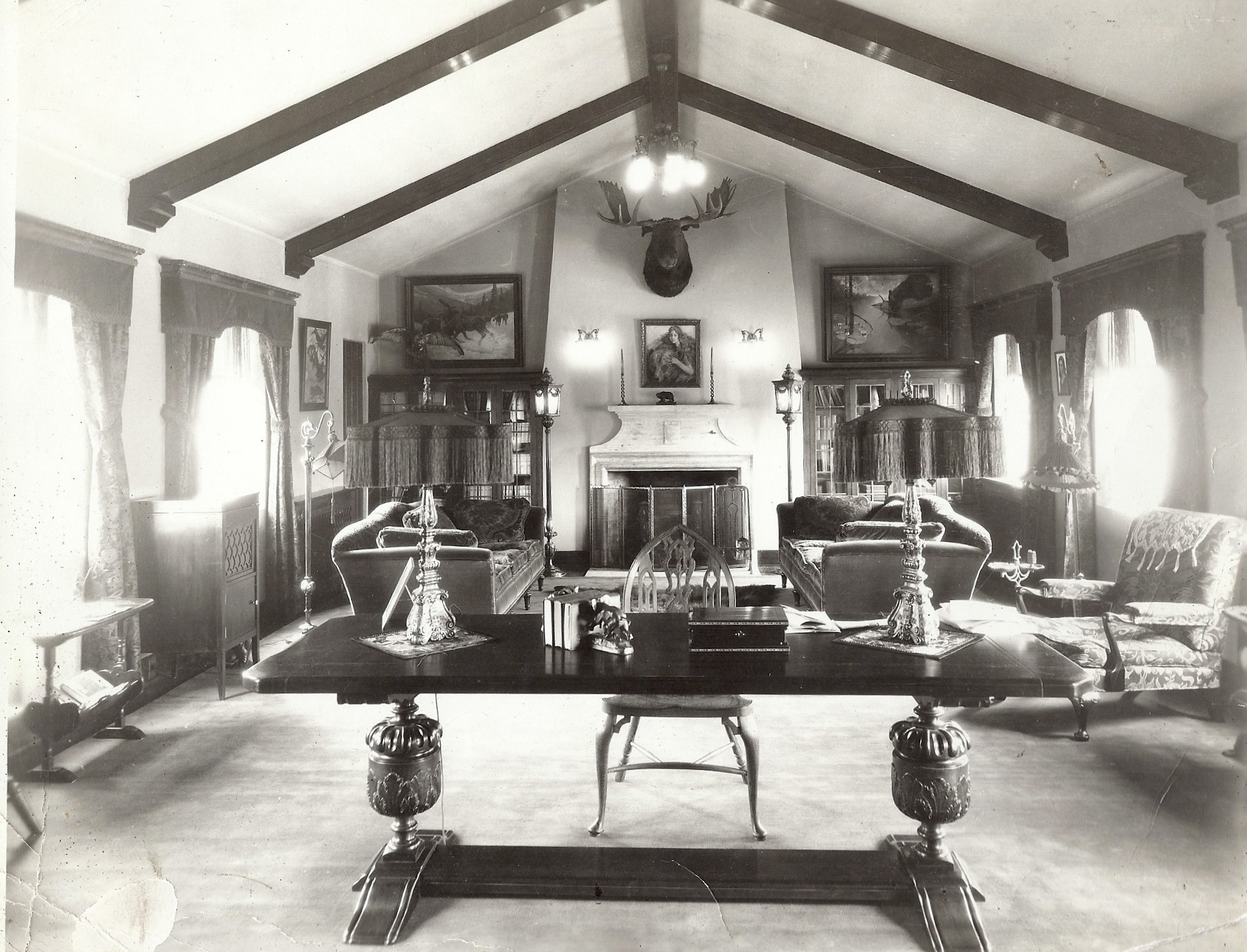 Great Room at Curwood Castle circa 1925 #2.jpg