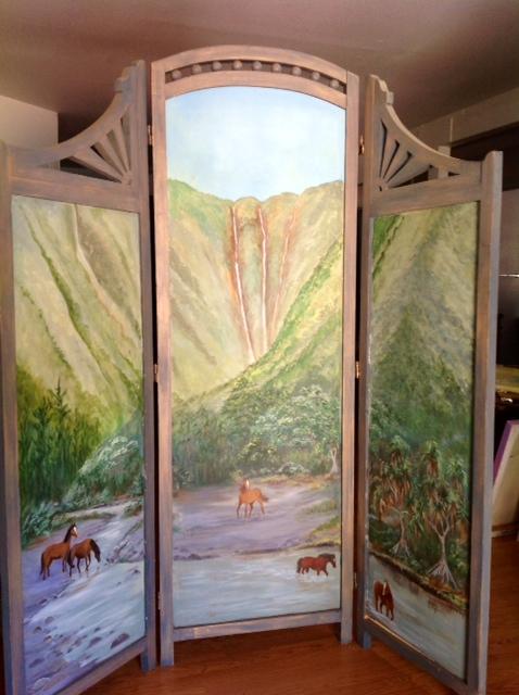 Waipio Valley Wild Horses Wood Screen