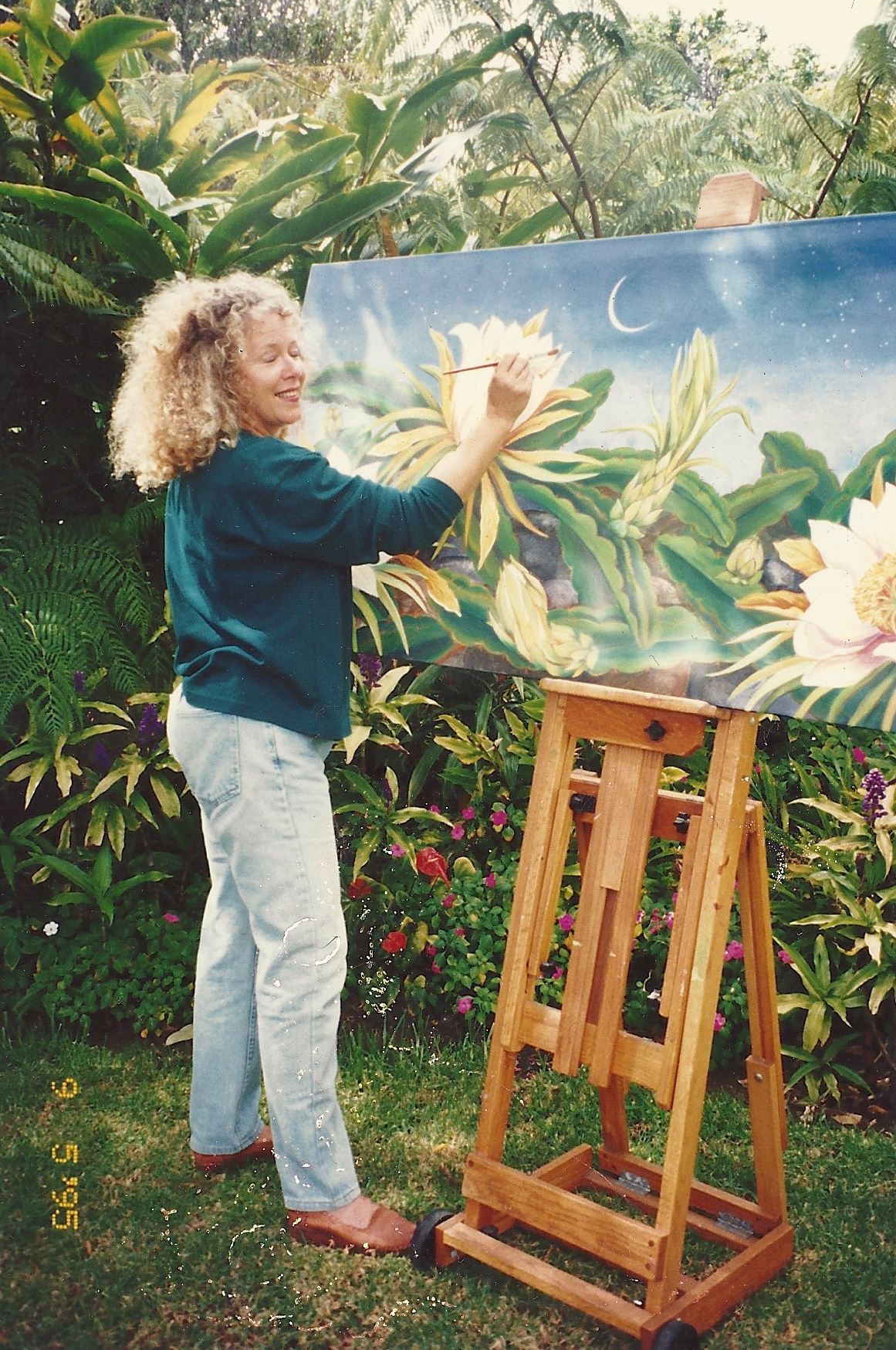 "Marcia working on ""Night Blooming Cereus"" 1995"