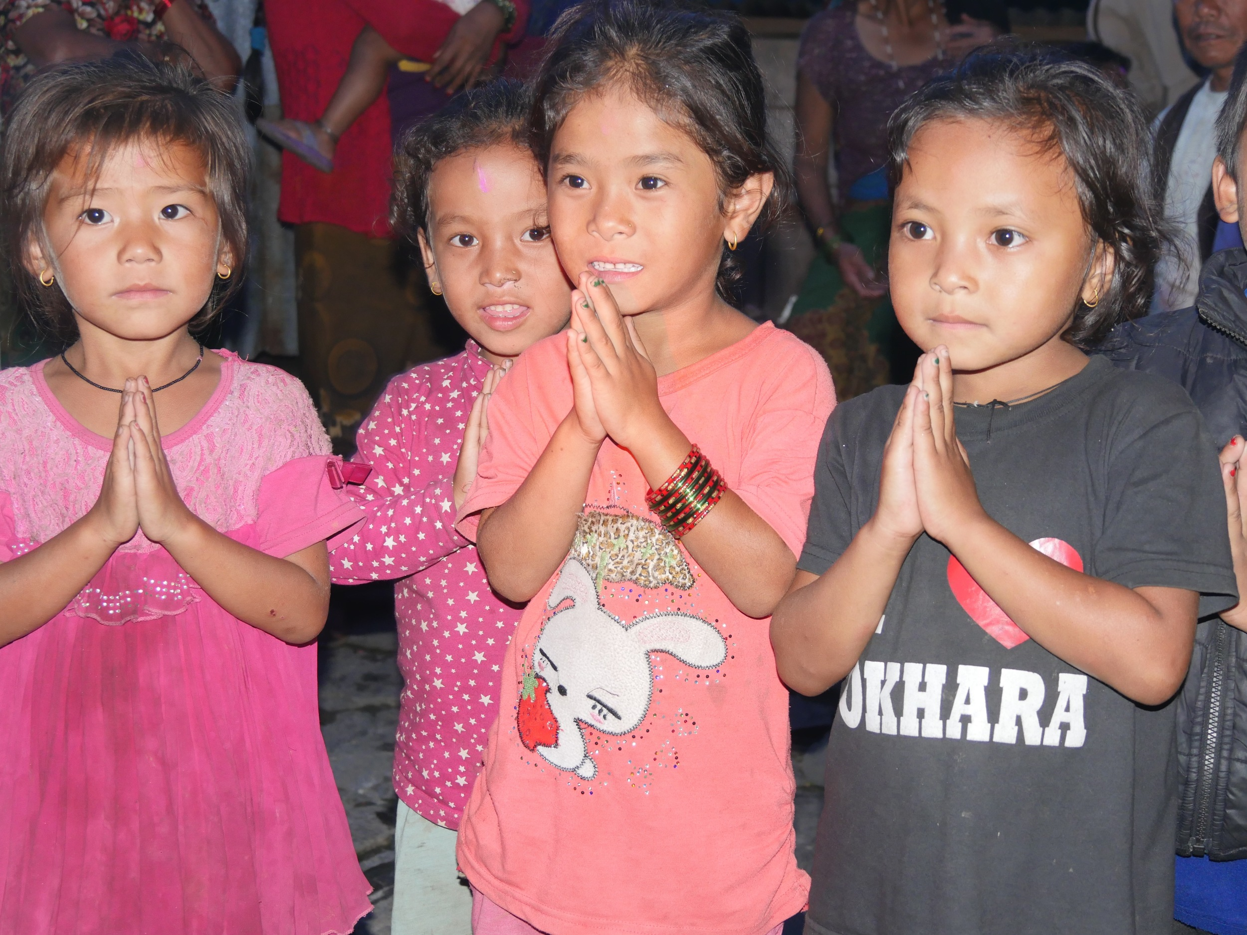 A warm 'Namaste' welcome from the local children