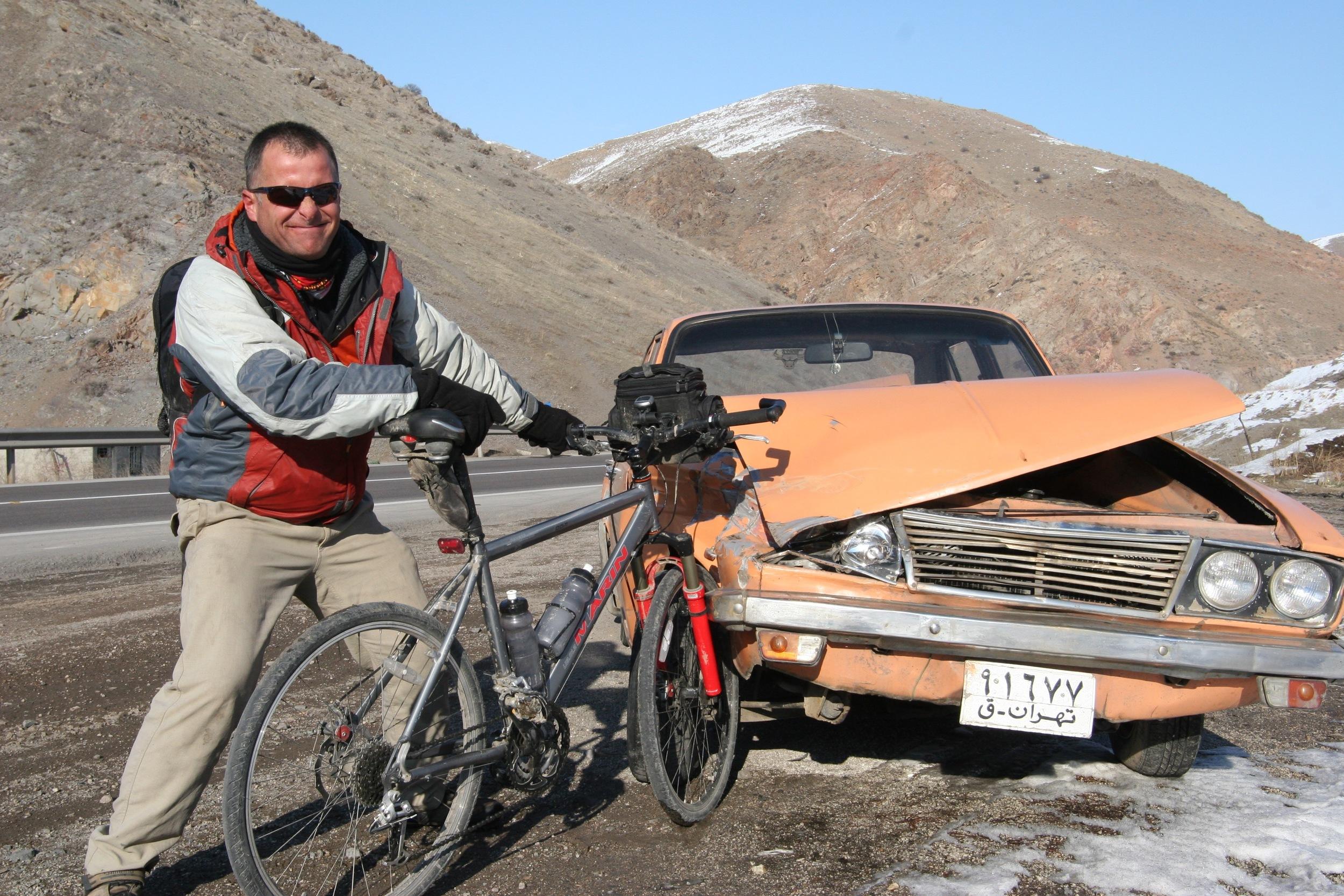 Car wreckage is a regular sight in Iran