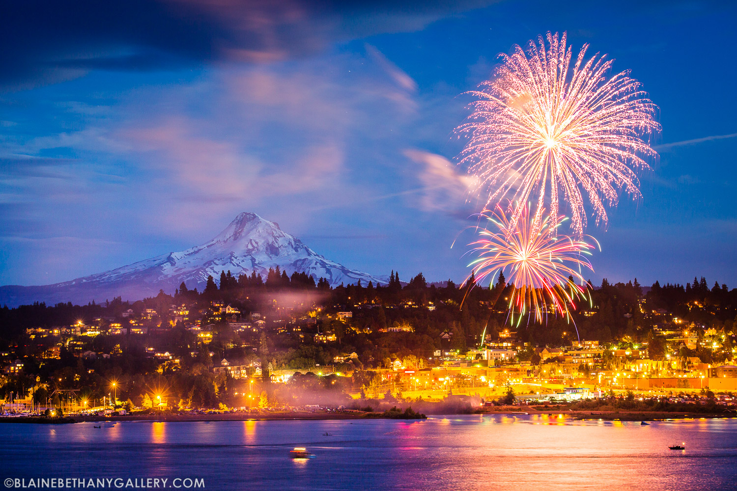 Hood River Fourth of July Fireworks with Mt Hood