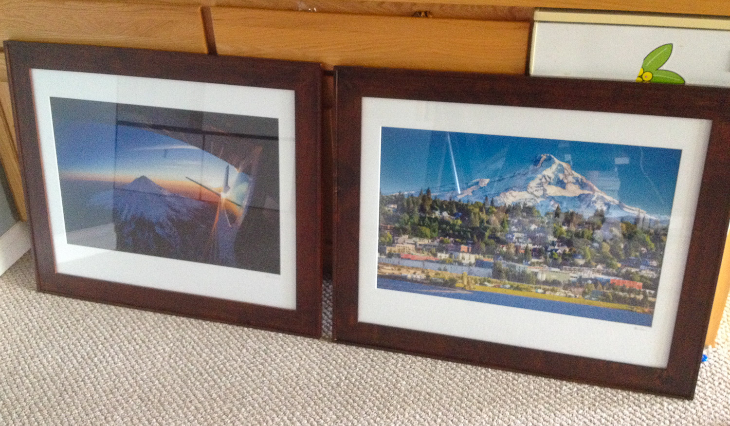 "Mt Hood Aerial, and  ""Beautiful Hood River""  framed & matted photography (sorry about the terrible iPhone snapshot)"