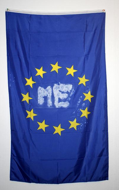ME,  2015, spray paint on flag