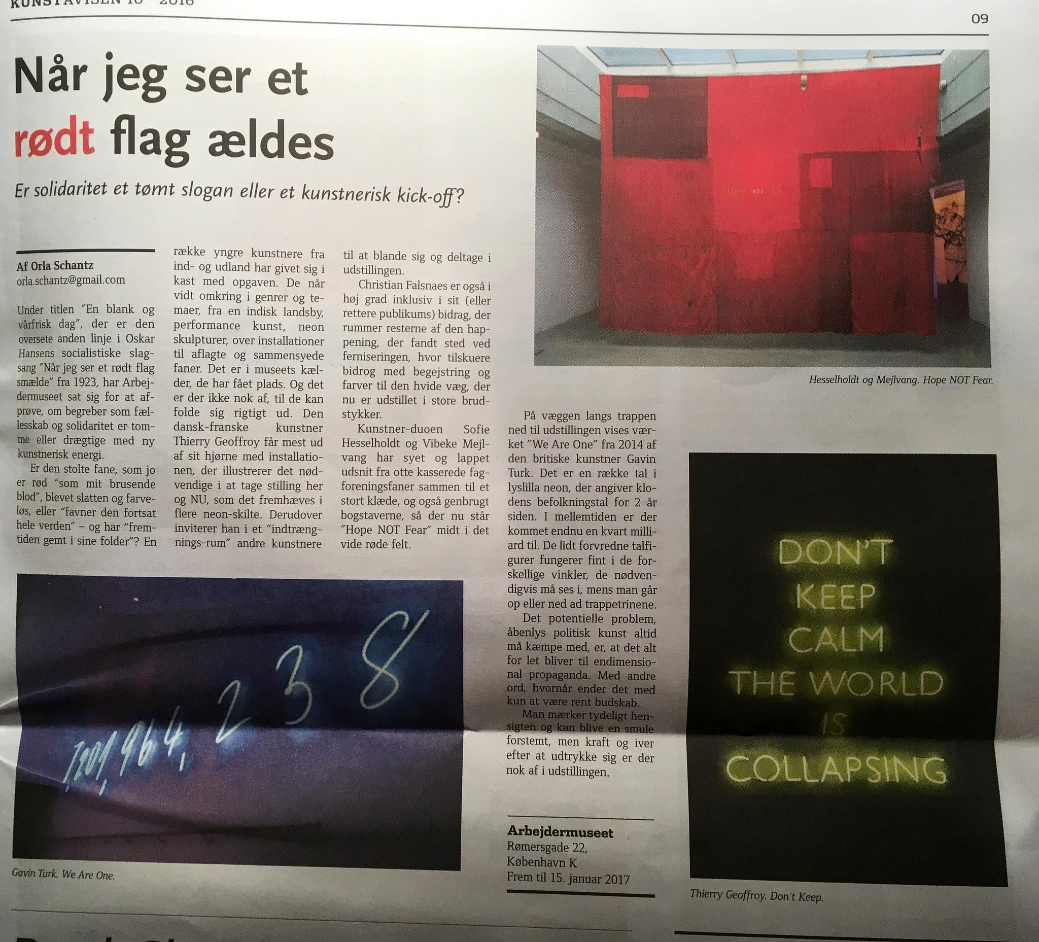 Article in the Danish art newspaper Kunstavisen.