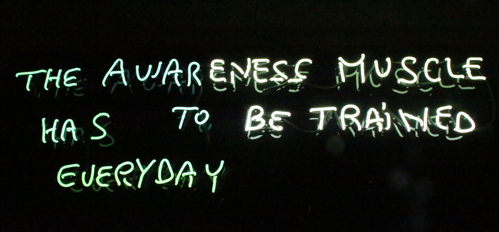 The awareness muscle has to be trained every day,  2016,Color: cold white,Dimensions: 150 cm x 52 cm,  Edition: 5 + 2AP