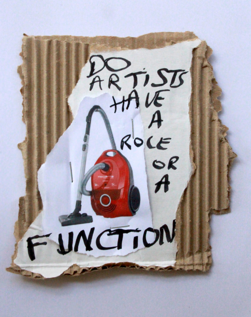 DO ARTISTS HAVE A ROLE OR A FUNCTION,  2016,17 x 10 cm,Black marker text and color print on carton