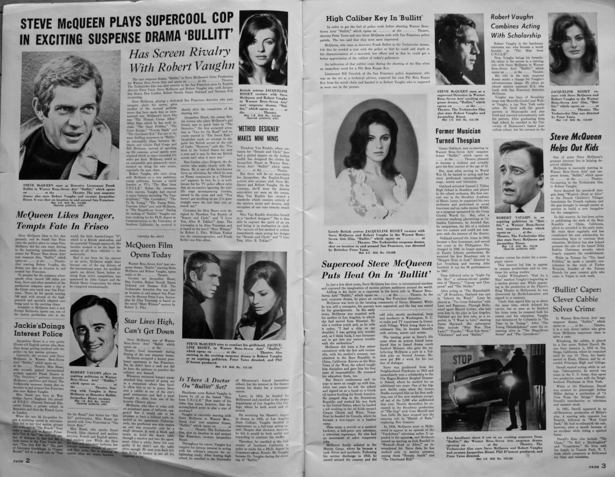 These pages are from the  Warner Bros. Seven Arts Pressbook  . The book went to theaters so they could have material to promote  Bullitt .  Property Frank Marranca