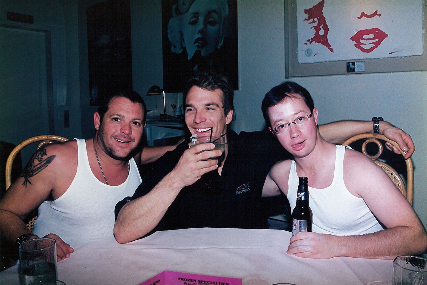 Here is (left to right) Chad McQueen, John Clark Gable, and Brad Bowling having dinner at a restaurant in Malibu in 1997. A friend told me I would someday regret making a funny face for this picture. I now see what he was talking about.  Property Brad Bowling