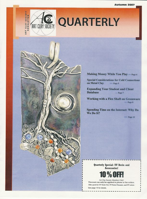 """My design """"The Earth Laughs in Flowers"""" appeared on the cover of the Art Clay Society Journal."""
