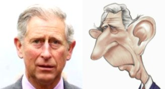 Left:  Caricature  of Prince Charles. Right: The  real prince Charles.
