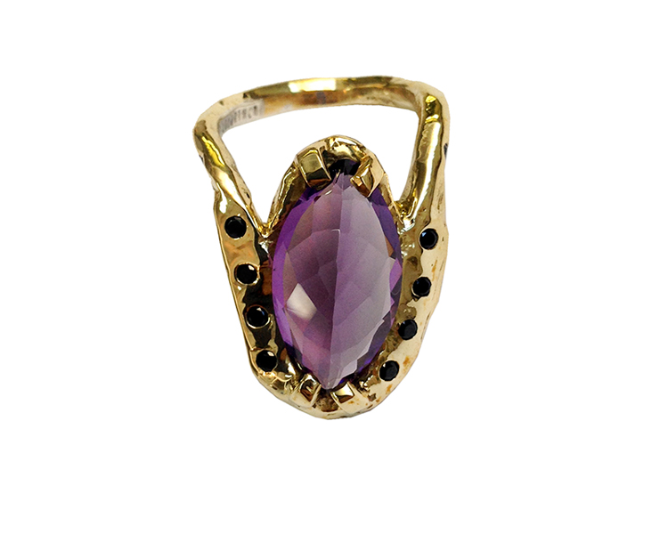Amethyst, black diamonds and 14k gold