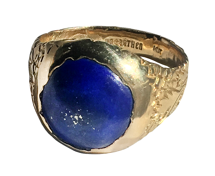 Lapis and 14k gold ring - front view