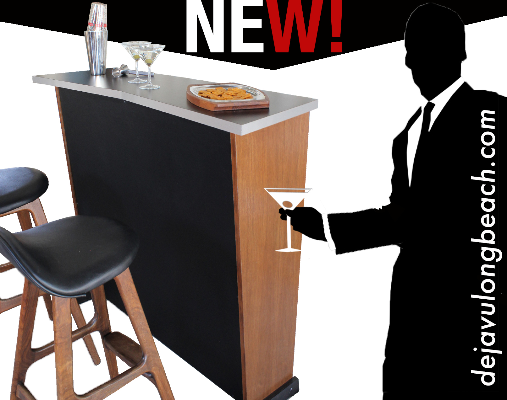 Our   Danish bar   is sure to be the focal point of your Mad Men parties!