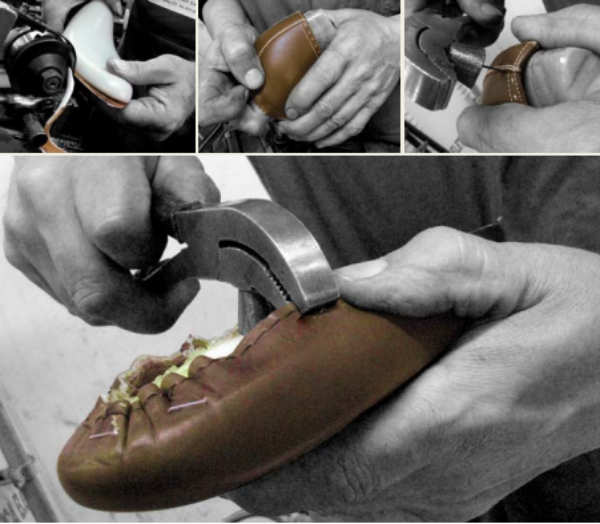 STEP 4 - LASTING - Lasting and making is the complex process of putting together the individual components of the shoe, and involves a series of steps aimed at making the leather fit perfectly to the last. In lasting, the upper is joined first to the insole and then to the sole, a process we will examine below. Masciangelo uses only leather or natural skin insoles to ensure maximum comfort for your feet. Once assembled, the shoe moves on to the finishing stage.
