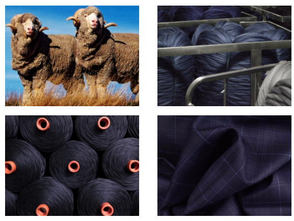 The top quality of our fabrics is achieved by a carefully controlled production process and an inexhaustible endeavor to perfect the yarn. The yarn derived from pure, Australian wool and our Italian and English mills directly manage and control the entire production chain, from the fleece to the finished fabric.