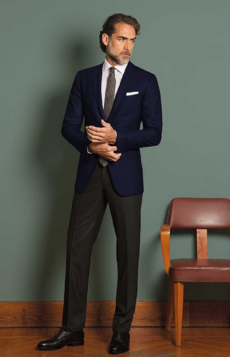 3. The Navy Suit Jacket with the Subtle Grey Check Pants