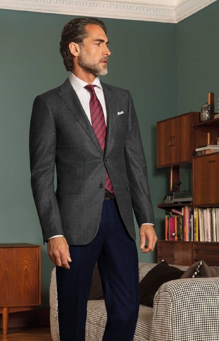 4. The Grey Check Suit Jacket with the Navy Suit Pants